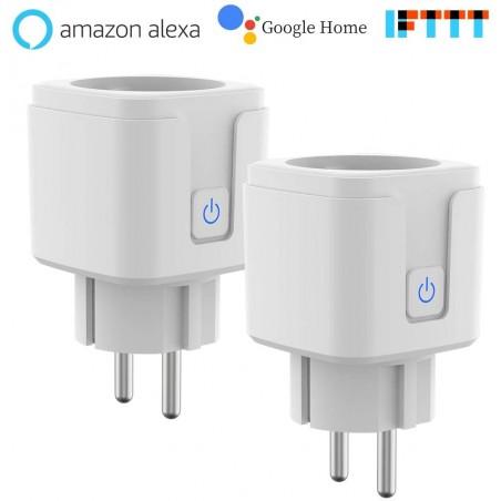 Pack 2 Prises connectées Intelligente Wi-FI compatible Alexa, Google Home
