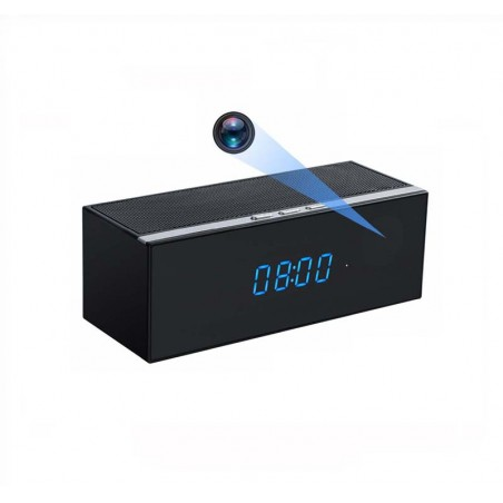 Enceinte Bluetooth horloge camera espion WIFI Full HD Détection de mouvement