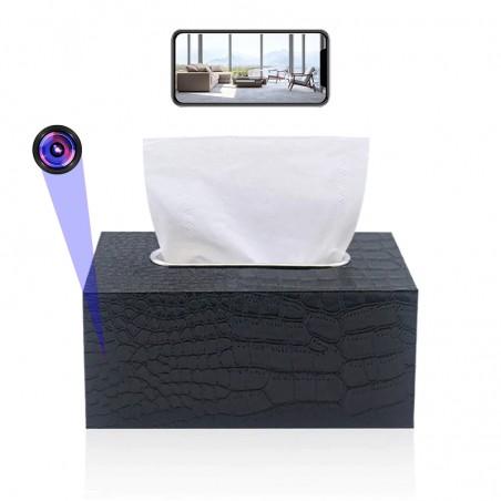 Caméra espion WIFI dans une boite à mouchoirs accessible à distance